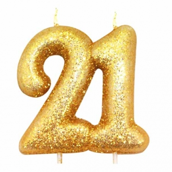 Age 21 Glitter Numeral Moulded Candle Gold