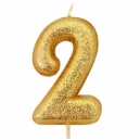 Age 2 Glitter Numeral Moulded Candle Gold
