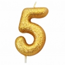 Age 5 Glitter Numeral Moulded Candle Gold
