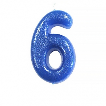 Age 6 Glitter Numeral Moulded Candle Blue