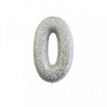 Age 0 Glitter Numeral Moulded Candle Silver
