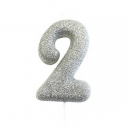 Age 2 Glitter Numeral Moulded Candle Silver