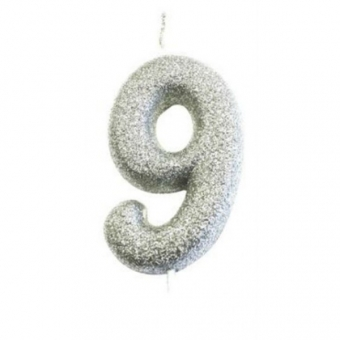 Age 9 Glitter Numeral Moulded Candle Silver