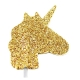 Gold Glitter Unicorn Cupcake Toppers / 12