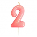 Age 2 Glitter Numeral Moulded Candle Pink