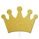 Gold Glitter Princess Crown Cupcake Toppers / 12