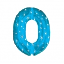 Number 0 Blue Sparkle Foil Balloon