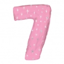 Number 7 Pink Sparkle Foil Balloon
