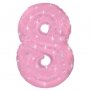 Number 8 Pink Sparkle Foil Balloon