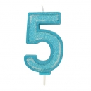 Blue Sparkle Party Candle No 5