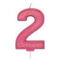 Pink Sparkle Party Candle No 2