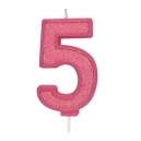 Pink Sparkle Party Candle No 5