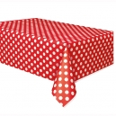 Red Dots Plastic Tablecover, 137x274cm