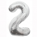 Number 2 Silver Foil Balloon, 86cm