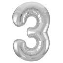 Number 3 Silver Foil Balloon, 86cm