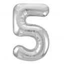 Number 5 Silver Foil Balloon, 86cm