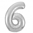 Number 6 Silver Foil Balloon, 86cm