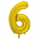 Number 6 Gold Foil Balloon, 86cm