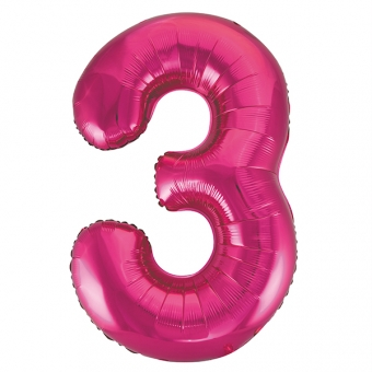 Number 3 Pink Foil Balloon, 86cm