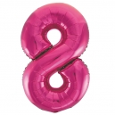 Number 8 Pink Foil Balloon, 86cm
