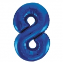 Number 8 Blue Foil Balloon, 86cm