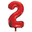 Number 2 Red Foil Balloon, 86cm