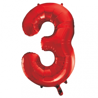 Number 3 Red Foil Balloon, 86cm