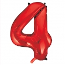 Number 4 Red Foil Balloon, 86cm