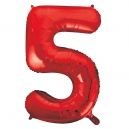 Number 5 Red Foil Balloon, 86cm