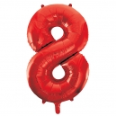 Number 8 Red Foil Balloon, 86cm