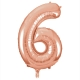 Number 6 Rose Gold Foil Balloon, 86cm