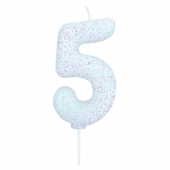 Age 5 Glitter Numeral Moulded Candle White