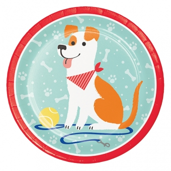 """Dog Party 9"""" Dinner Plates / 8"""