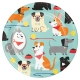 """Dog Party 7"""" Dinner Plates / 8"""