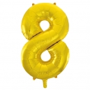 Number 8 Gold Foil Balloon, 86cm