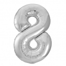 Number 8 Silver Foil Balloon, 86cm