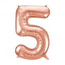 Number 5 Rose Gold Foil Balloon, 86cm