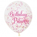 Clear Latex Balloons with Pink & Gold Confetty / 6