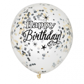 Clear Latex Balloons with Black & Gold Confetty / 6
