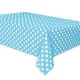 Powder Blue Dots Plastic Tablecover, 137x274cm