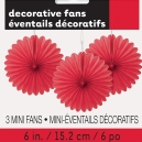 "Decorative Fans 6"" Red / 3 CT"
