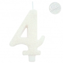 Age 4 Glitter Numeral Candle with holder