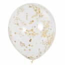Clear Latex Balloons with Gold Confetty / 6