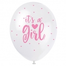 It's a Girl - Clear Latex Balloons with Lovely Pink Tissue Confetty / 6
