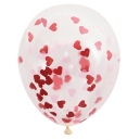 Clear Latex Balloons with Heart Shaped Confetty / 6