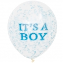 It's a Boy - Clear Latex Balloons with Blue Confetty / 6