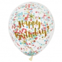 Happy Birthday - Clear Latex Balloons with Gold and Multicolor Confetty / 6
