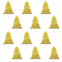 Christmas Tree - Gold Glitter Cupcake Toppers / 12