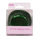 Green Coloured Paper Lined Foil Baking Cases / 45