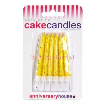 Yellow Glitter Candles / 12